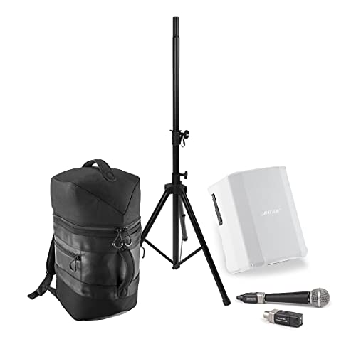 Portable PA System Bundle with Bose S1 Pro Loudspeaker, Wireless Microphone Kit, Backpack & Accessories (Arctic White)