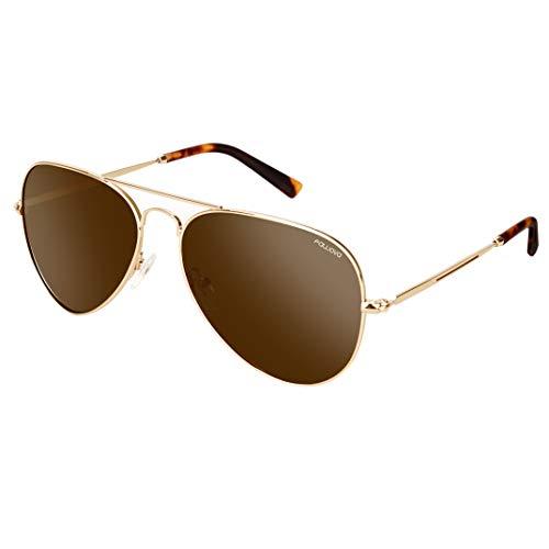 fawova Gafas Aviador Mujer Marrón, Gafas De Sol Unisex Aviador Polarizadas Montura de metal Oro, Conducir, Pescar, Golf, Correr,UV400,Cat.3 58mm(Oro Marron)
