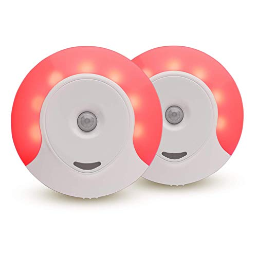 Sleep Aid Red LED Motion Sensor Night Light Plug in for Bedroom with Dusk to Dawn Motion Activated Auto Sensor, Promotes melatonin Production and Healthy Sleep, ON-Off-Auto Toggle, 2-Pack