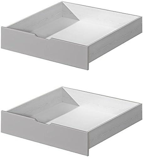 Schublade für Kinderbett Jugendbett Milo 30, Farbe  Weiß Grau, massiv - Abmessungen  15 x 86 x 78 cm (H x B x T)