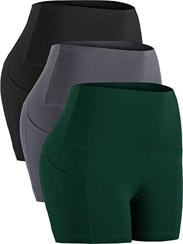 Cadmus Women's High Waist Tummy Control Athletic Short Pockets,3...