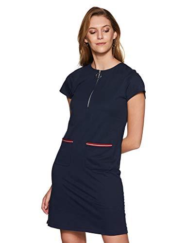 Miss Olive Women's Shift Knee-Long Dress (MOAW18D30-09-71_Navy Blue_Small)