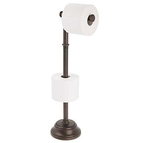 mDesign Portarrollos de pie con capacidad para 3 rollos de papel higiénico – Soporte para papel higiénico de diseño atemporal – Portarrollos de baño para rollos grandes – color bronce