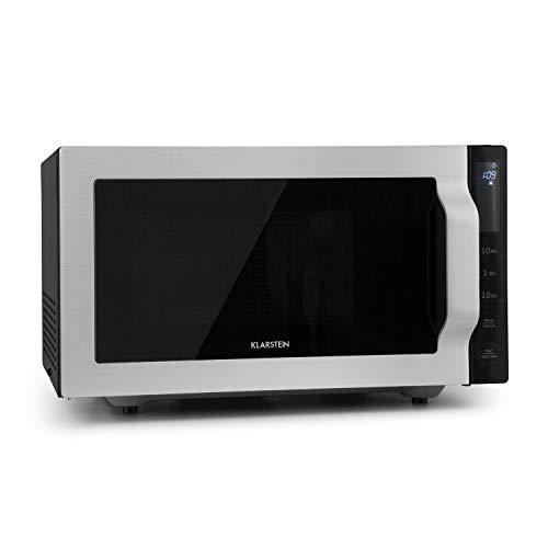 Klarstein Brilliance Roomy - Horno microondas grill, Microondas 2 en 1, Microondas 900W, Grill 1000W, Capacidad 25L, 14 programas, 2 modos combi grill/microondas, Acero inoxidable, Plateado