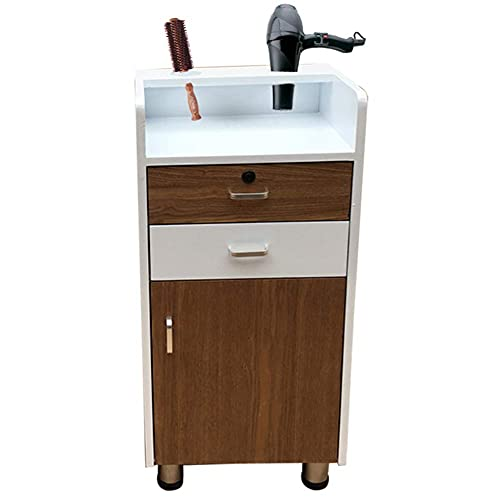 Salon Trolley Stylist Cart with One Lockable Drawer Hair Dryer Holder Hairdressing Storage Cabinet Beauty Barber Shop Furniture