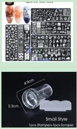 OBEST Plantilla de Impresión de Arte de Uñas de Acero Inoxidable Navideño 6 Piezas + Pequeño Sello de Silicona Transparente + Raspador