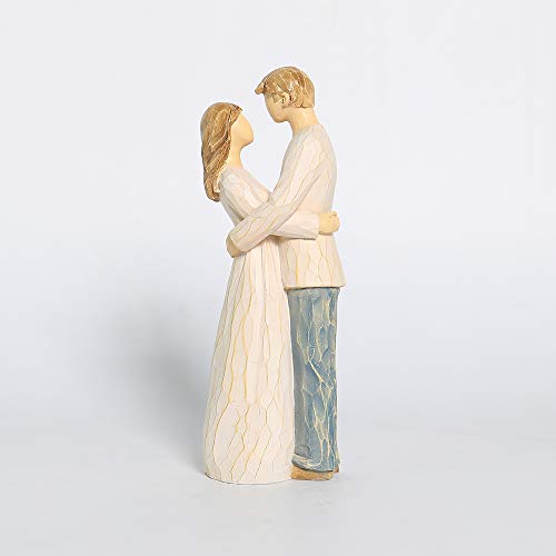 Couple Figurine, Hand-Painted Romantic Together Couple Sculpture Gift for Anniversary, Wedding Anniversary, Weddings, Valentine