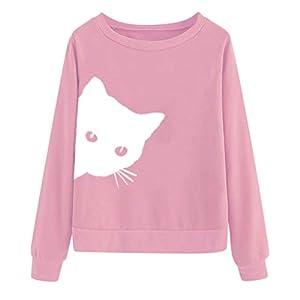 Goddesslili Womens Tops, Cute Hidden Cat Print Long Sleeve O Neck Sweatshirt Blouses for Women Girls Ladies Casual Office Wear, 2019 New Back to School Supplies, Muti Colors