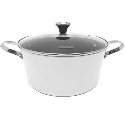 THE ROCK by Starfrit One-Pot 7.2-Quart Stock Pot with Lid and Stainless Steel Riveted Handles, White