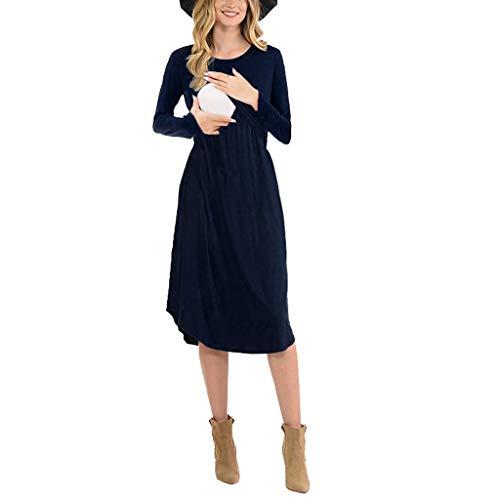 FRAUIT Abiti Premaman Eleganti Lunghi Abito maternità Allattamento Vestiti Vestito Gravidanza Invernale Premaman Abbigliamento Elegante Manica Lunga Maniche Lunghe