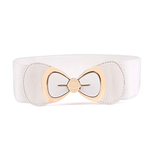Andongnywell Women Bow Elastic Belt Elegant PU Bowknot Stretch Wide Belt Dress Decorative Waistbelts Vintage Waist Belt (White)