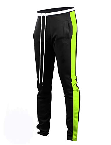 SCREENSHOTBRAND-S41700 Mens Hip Hop Premium Slim Fit Track Pants - Athletic Jogger Bottom with Side Taping-BK/NE-Medium