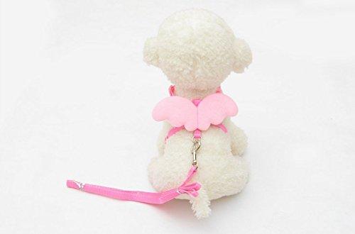 Yowablo Niedliche Angel Pet Dog Leads und Halsbänder Set für Small Pet Designer Wing einstellbar (20-32cm,Rosa)