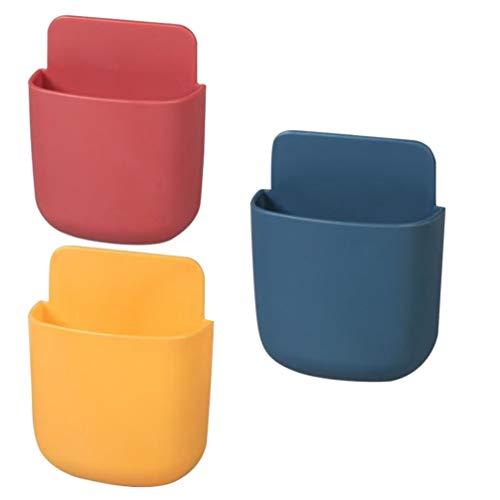 Cabilock - 3 cajas de almacenamiento con mando a distancia para colgar en la pared, organizador para teléfono móvil, portaobjetos (amarillo + rojo + azul)