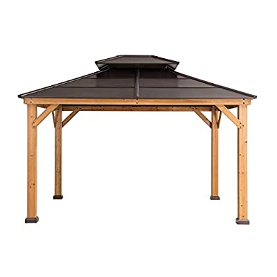 Sunjoy A102008600 Chapman 10x12 ft. Cedar Framed Gazebo with Steel 2-Tier Hip Roof Hardtop, Brown