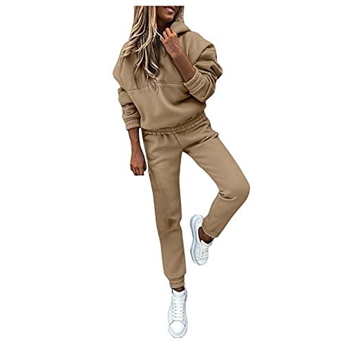Alueeu Chándal de Mujer Sudadera Pantalón Trajes de 2 Piezas Otoño e invierno Empalme Moda de Manga Larga Ropa de Salón para Casual, Gimnasio, Entrenamiento