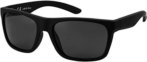 La Optica B.L.M. Herren Sonnenbrille UV400 Männer Sportbrille Fahrradbrille - Gummiert Schwarz (Gläser: Grau)