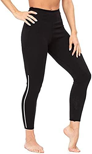 Pantalones Cortos de Sauna para Mujer, Fajas de Entrenamiento de Entrenamiento - Leggings modeladores de Cuerpo de Calentamiento de Neopreno Delgado de diseño de Moda (Color : Black, Size : S)