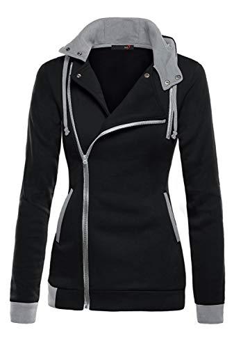 DJT Womens Oblique Zipper Slim Fit Hoodie Jacket Large Black