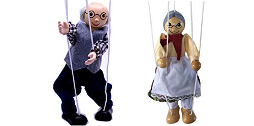 Sparik Enjoy 2 Packs Grandma and Grandpa Hand Marionette Puppet Children's Wooden Colorful Marionette Toys Doll Parent-Child Interactive Toys-Old Man and Women Marionette Puppet (Grandma and Grandpa)