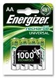 Energizer 626831Lot de 4 Piles Rechargeables, NiMH 1300mAh, 1,2V, AA