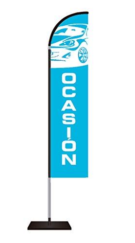 Fly Banner Tipo Vela Automoción | Banderola publicitaria | Talla XL Medidas totales: 85x500cm (ancho x alto) | Banderola publicitaria tipo Fly banner talla XL | Varios Colores | Azul y texto blanco |