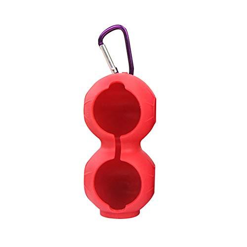 WHK Cubierta de Pelota de Golf portátil de 2 Bolas,Funda Protectora de Silicona Suave con mosquetón de Golf, Accesorios para Golf(Red)