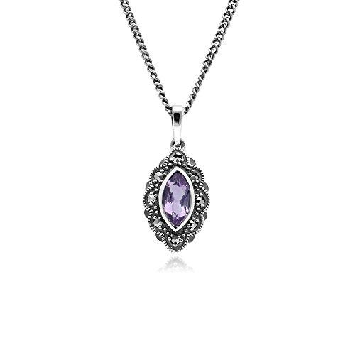 Gemondo Amethyst Halskette, Sterling Silber Amethyst & Markasit Art Nouveau 45cm Halskette
