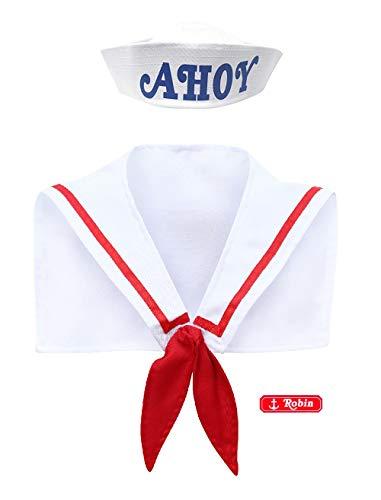 Ahoy hoed sjaal badge scoops kostuum halloween hoed zeeman pet vreemdeling dingen wit