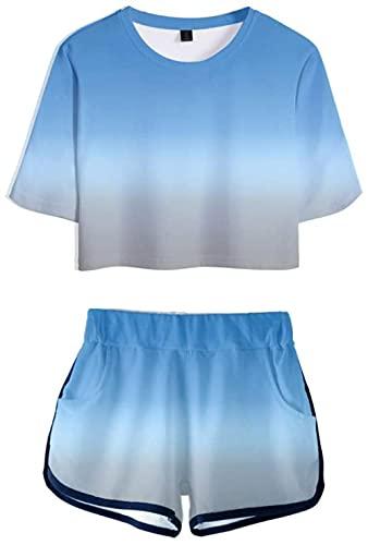 YUNZHONG Gradiente Anime Crop Top Pantalones Cortos Para Adolescentes Impresión Póster 3D Camiseta Pantalones Cortos Calientes Verano Jogging Pijama -B_XL