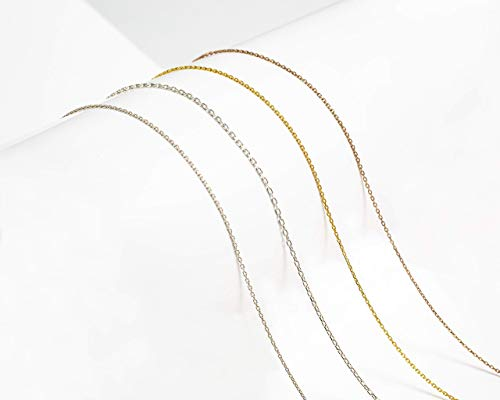 925 Sterling Silver Necklace's Chain, 1.2mm, 0.8mm, 10' 11' 12' 13' 14' 15' 16' 17' 18' 19' 20' 21' 22' 24' 26' 28' 30' 32' 34' 36'Length, Any Sizes, Gold, Rose Gold Plated