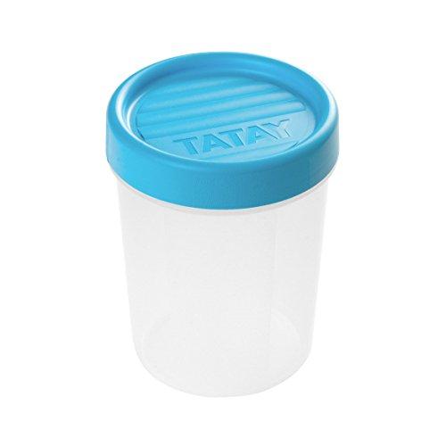 TATAY 1160500 - Contenedor de Alimentos hermético con Cierre a Rosca y medidor, transparente con tapa azul, Libre de BpA, 0,4 litros de capacidad, 8,5 x 8,5 x 11,1