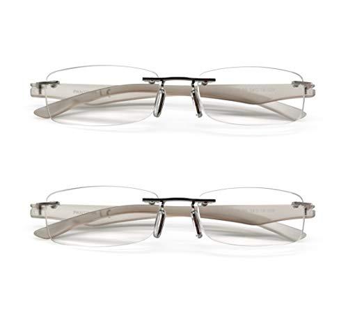 PANTONA –Pack2 Gafas de Lectura Pregraduadas Montura al Aire,Gafas Vista Cansada sin Marco,Gafas Presbicia Clasico Marco Invisible Hombre y Mujer.7 Graduaciones y 3 Colores disponibles.Gris+2.50