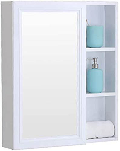 Espejo de pared Caja de gabinete de baño Aseo Espacio de tocador de tocador de aluminio Gabinete de almacenamiento de almacenamiento de inodoro Colgando de la pared con estante usa para decorar la hab