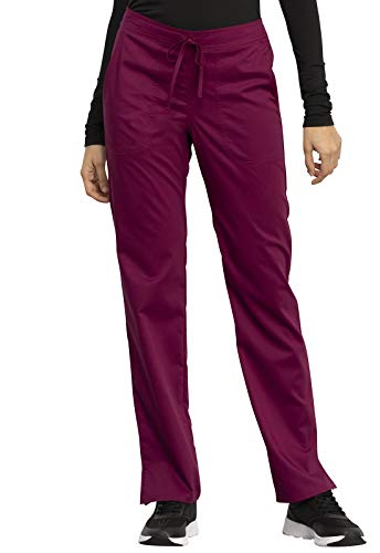 CHEROKEE Workwear WW Revolution Mid Rise Straight Leg Drawstring Pant, WW005, XXS, Wine