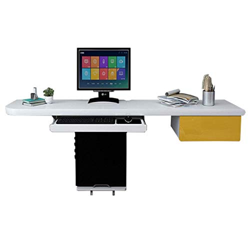 Equipo diario Mesa de hojas abatibles montada en la pared Dormitorio simple Mesa de computadora de escritorio doble Apartamento pequeño Oficina de estudio multifunción Escritorio colgante con cajón