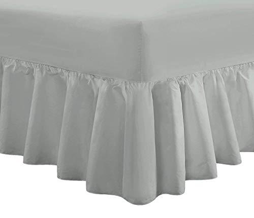 Divine Textiles Luxus-Volant-Spannbettlaken, extratief gefältelt, Polycotton, grau, King Size