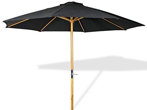 LANTERFANT - Sonnenschirm Lucas, Gestell Holz, 300x250 cm, rund, Bespannung Polyester, Gartenschirm, Schwarz