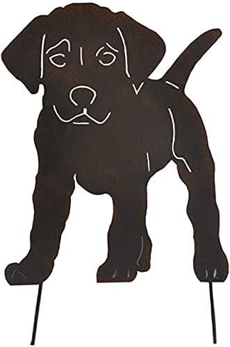 Bedspread Figura de Perro 2D Decoración de inserción de Suelo, para Clavija de Estatua de Metal de Animal Realista Hueca al Aire Libre, para Garden Manor 30 * 47CM