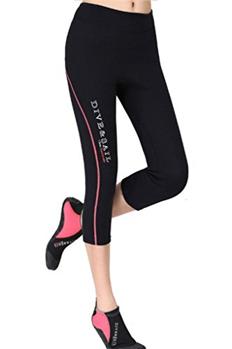 DIVE & SAIL Women's Wetsuits Capri Pants Premium 1.5 mm Neoprene Diving Snorkeling Scuba Surf Canoe, Red Trim, Large