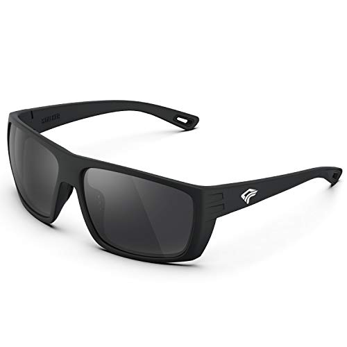 TOREGE Polarized Sports Sunglasses for Men and Women Saltwater Resistance Lens Cycling Running Golf Fishing Sunglasses TR27 (Matte Black Frame &Grey Lens)
