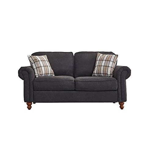 2 Seater / 3 Seater Sofa Couch Settee Fabric Sofa Living Room Sofa with Retro Design Leg and 2 Free Cushions (Black, 2 Seater)