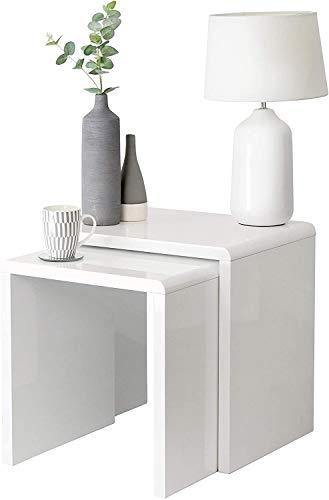 House & Homestyle Juego de 2 mesas auxiliares Alto Brillo inspiradas en Cubos de Nido, mesita de Noche, Oficina o salón, 50 cm, Color Blanco Brillante, White, Largest Table-H 50cm x W 50cm x D 39.5cm