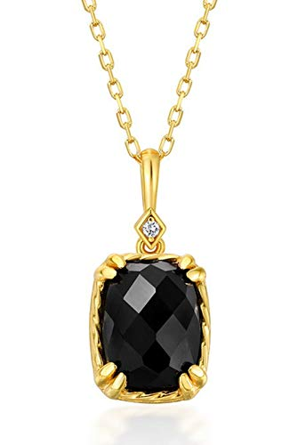 ZHANGQIAN Women Black Agate Pendant, S925 Sterling Silver Gold-Plated Necklace Pendant, Crystal Jewelry Gift for Mother, Wife, Girlfriend