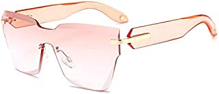 Sunglasses Fashion Accessories Oversized Sunglasses Block Shield Section Integral Fengjing Cut Crystal Spectacle Lens May Be UV (Color : Pink)