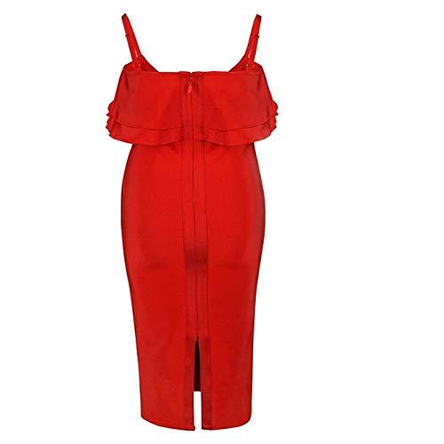 N\P Vestidos De Vendaje Llegadas Elegantes Mujeres Volantes Rojo Sexy Bodycon Midi Vestido De Verano Vestido De Fiesta De Noche
