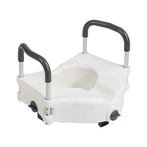 Drive Medical Preservetech Secure Lock Raised Toilet Seat with Handles, 5 Inch, White