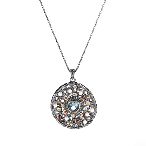 Collar personalizado, collar minimalista, colgante circular con incrustaciones de color semigem, proceso de chapado, adecuado para todas las ocasiones
