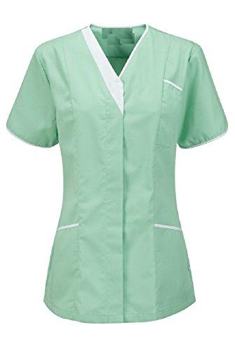 Instex Aqua Womens Asymmetrische Tuniek met Contrast Trim, Tandarts dierenarts ziekenhuis schoonheidssalon, INS33AQ