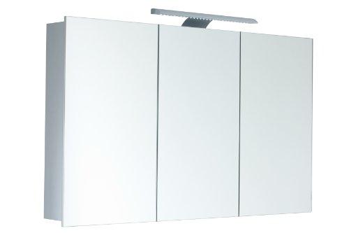 Mebasa MYBSPKALE1 Spiegelschrank Jokai 3D-Effekt, 3 Türen, 4 Glasablagen, 1 LED Leuchte, Kippschalter, vormontiert, TÜV geprüft